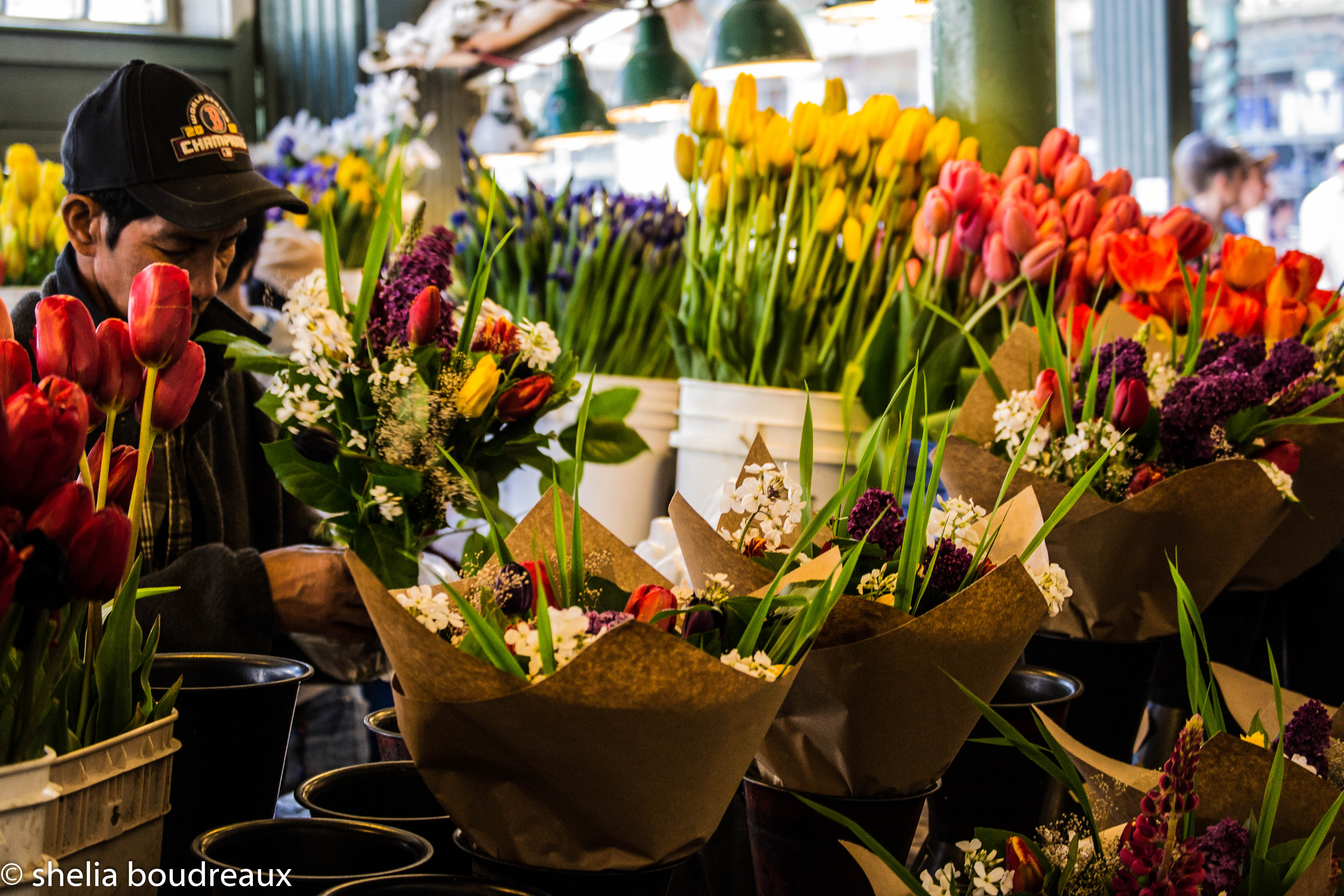 The big thing at the public market is the flowers. They are beautiful and everywhere to buy!