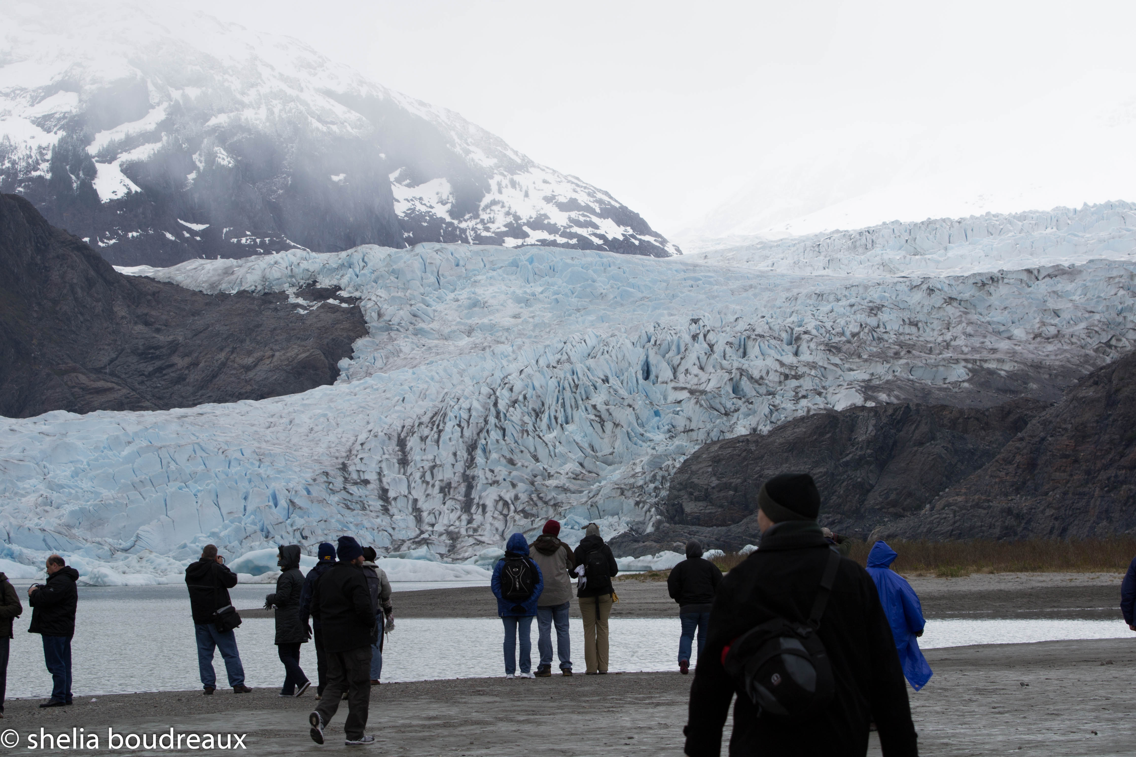 The guide said it was one mile from where we were standing. That is how big the glacier is!!