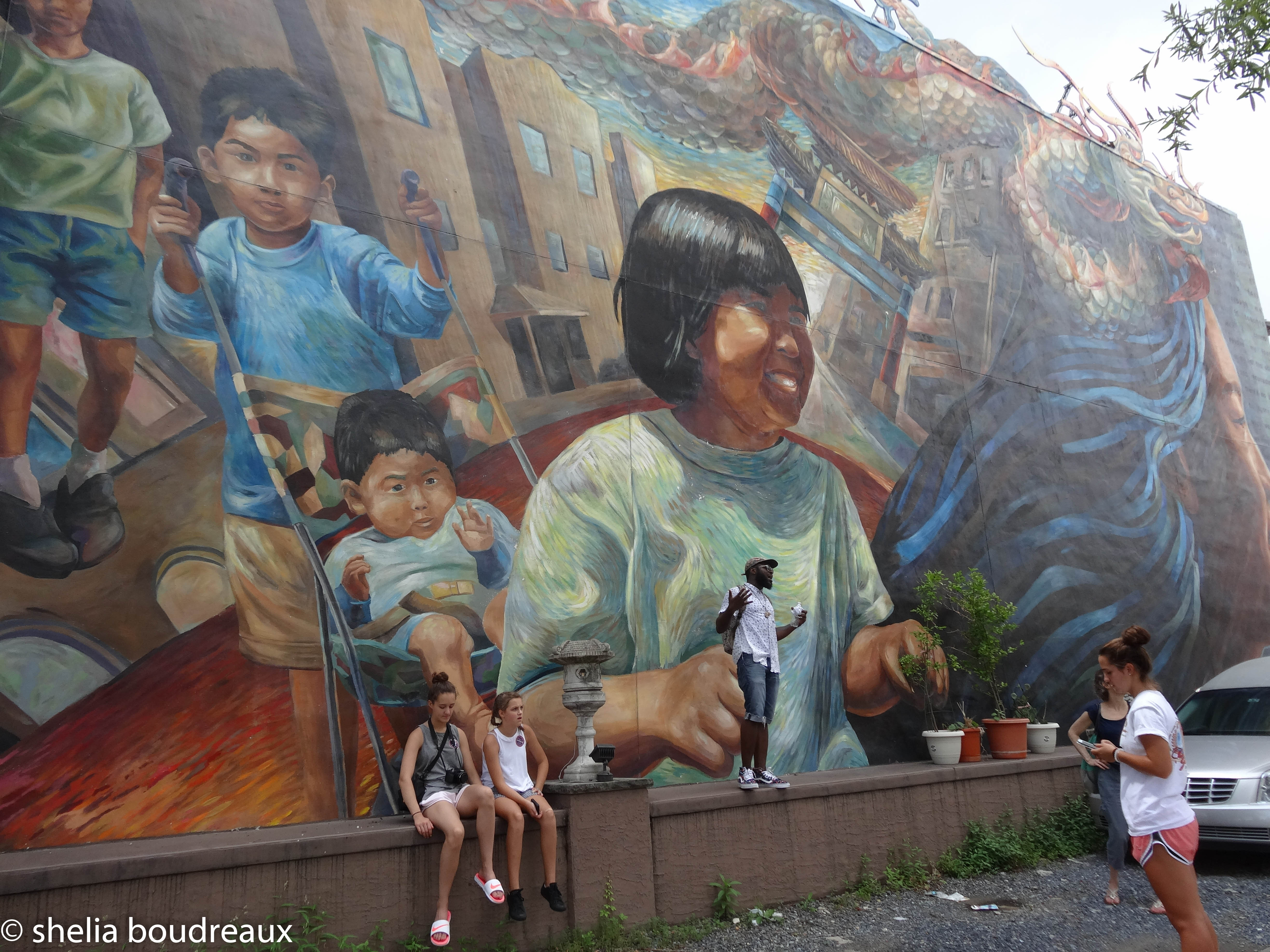 Mural as we enter Chinatown in Philly.