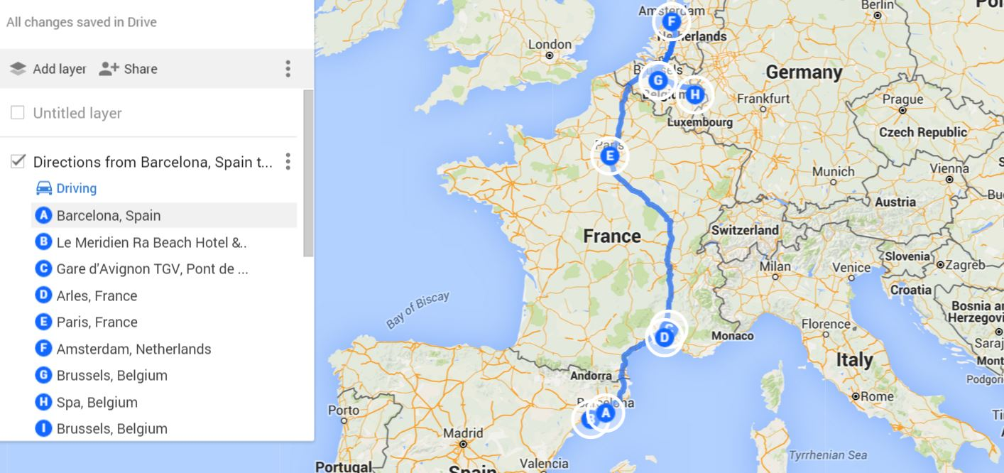 Road Trip Map in Europe